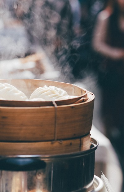 Steaming Chinese Dumplings Full Size